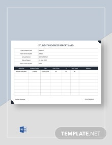 Student Progress Report Card Template