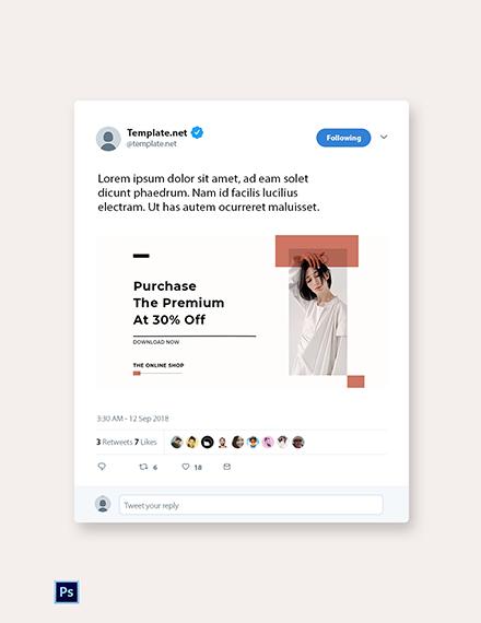 Free Minimalistic Fashion App Promotion Twitter Post Template