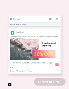 Free Travel Discount LinkedIn Blog Post Template