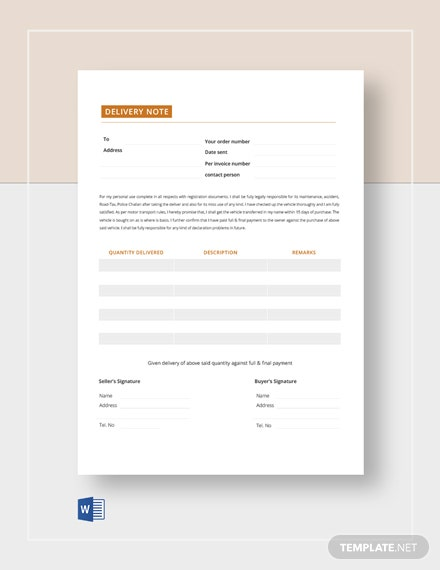 Blank Delivery Note Template