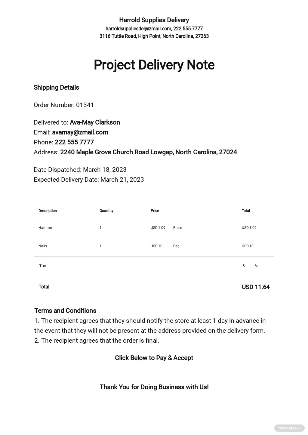 Project Delivery Note Template