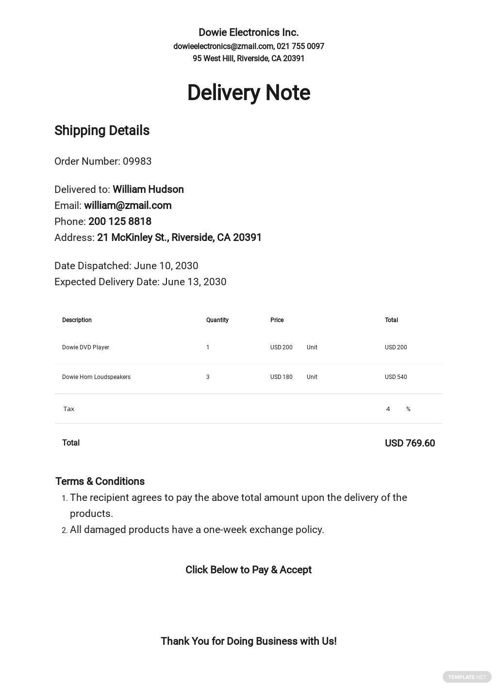 Product Delivery Note Template