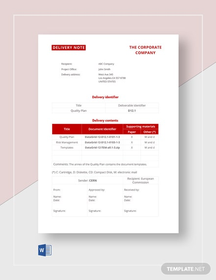 Sample Delivery Note Template