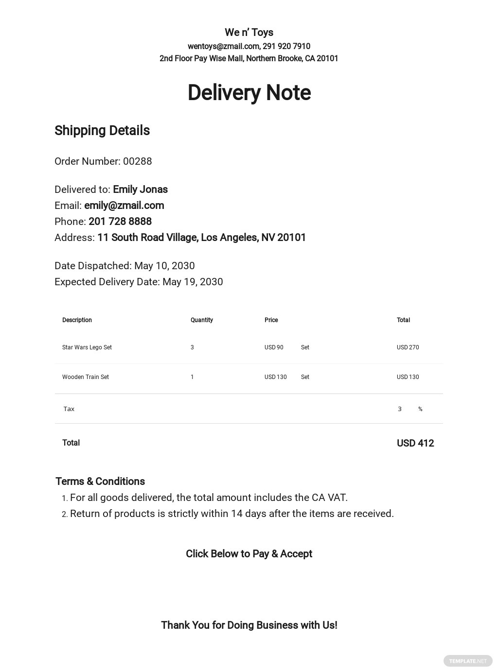Delivery Note Example Template