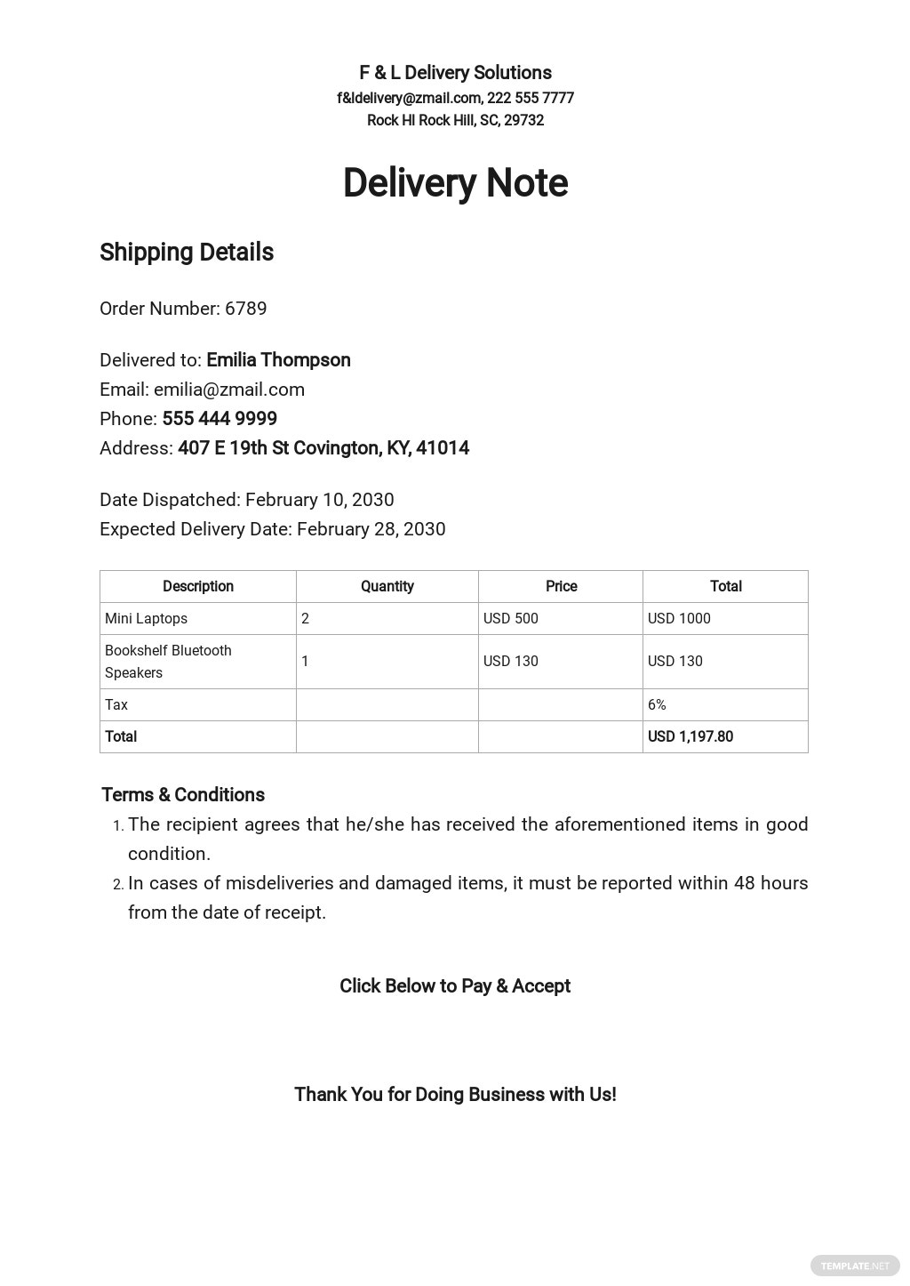 Simple Delivery Note Template