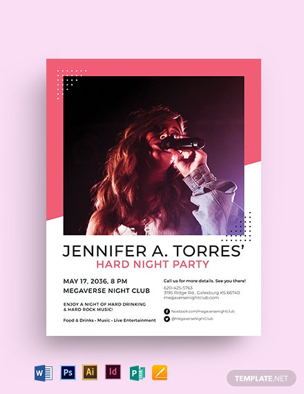 Hard Night Flyer Template