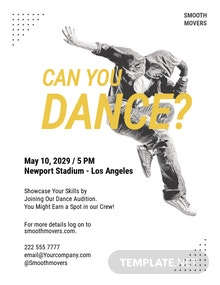 Hiphop Dance Audition Flyer Template