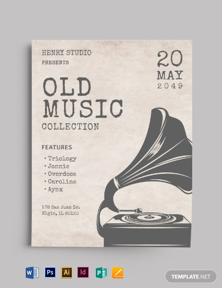 Old Vintage Music Flyer Template