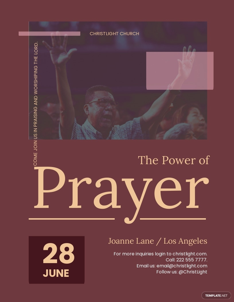 The Power of Prayer Church Flyer Template.jpe