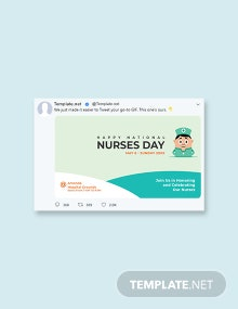 Free Nurses Day Twitter Post Template