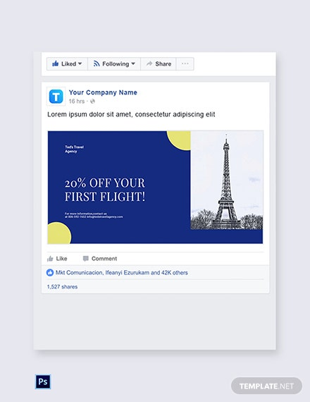 Free Simple Travel Agency Facebook Post Template