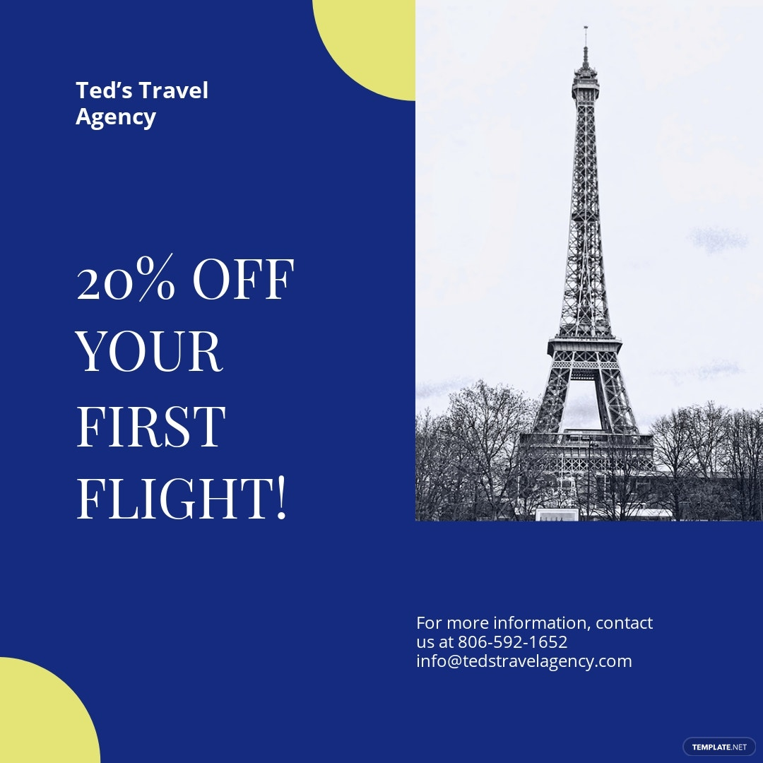 Simple Travel Agency Instagram Post Template [Free JPG] - PSD