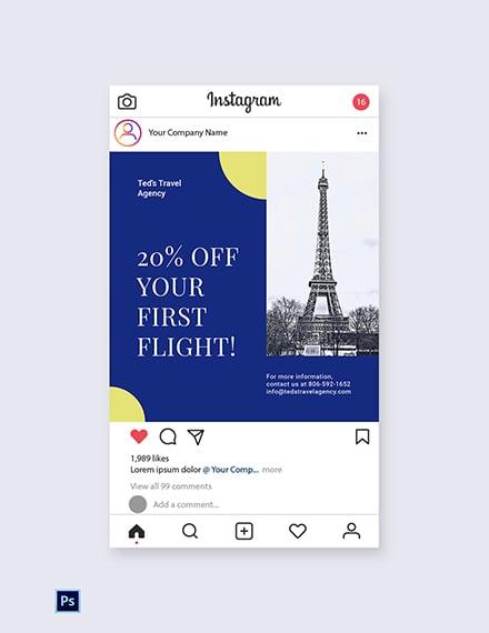 Free Simple Travel Agency Instagram Post Template