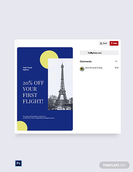Free Simple Travel Agency Pinterest Pin Template