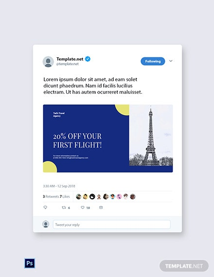 Free Simple Travel Agency Twitter Post Template