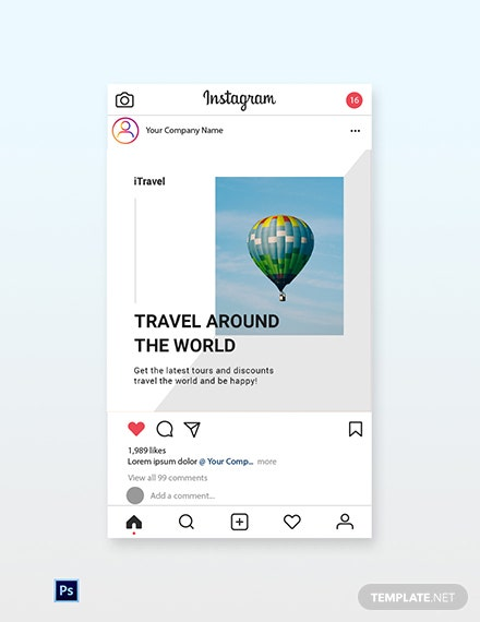 Free Travel Trends Instagram Post Template