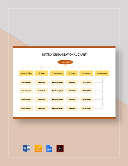 Simple Matrix Organizational Chart Template