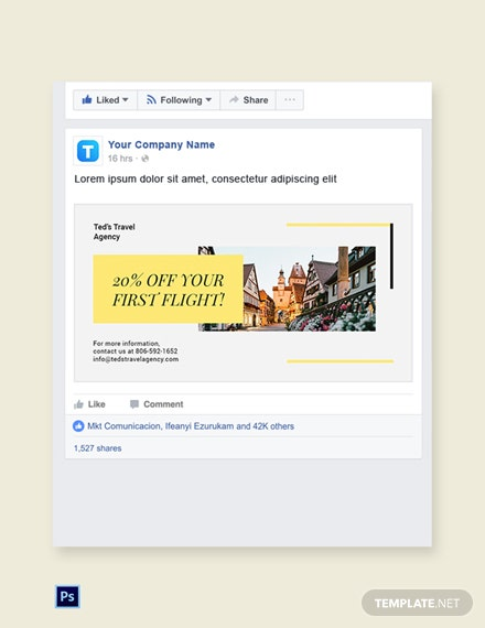 Free Travel & Tourism Facebook Post Template