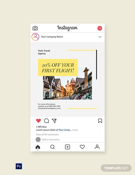 Free Travel & Tourism Instagram Post Template