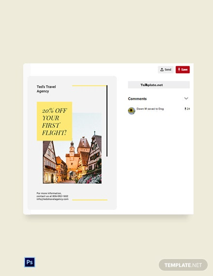 Free Travel & Tourism Pinterest Pin Template