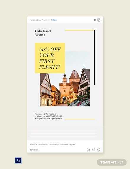 Free Travel & Tourism Tumblr Post Template