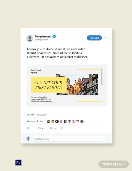 Free Travel & Tourism Twitter Post Template