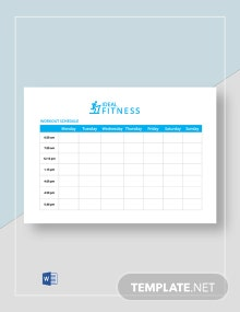 Free Fitness Workout Schedule Template