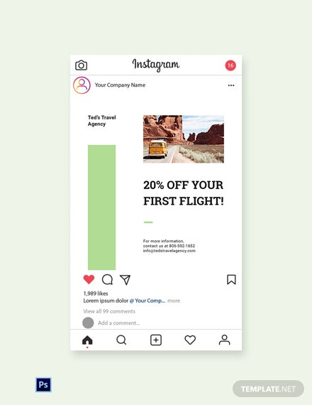 Free Travel Agency Instagram Post Template