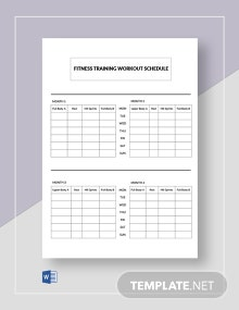 Free Workout Training Schedule Template