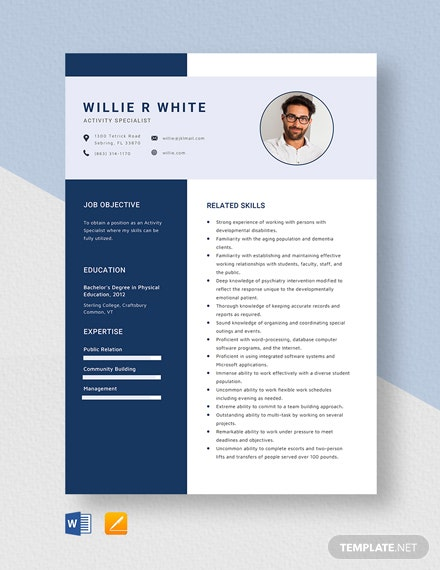 Activity Specialist Resume Template