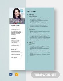Activity Teacher Resume Template