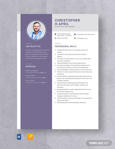 Acute Dialysis Nurse Resume Template