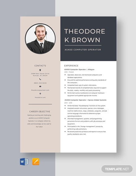 AS400 Computer Operator Resume Template