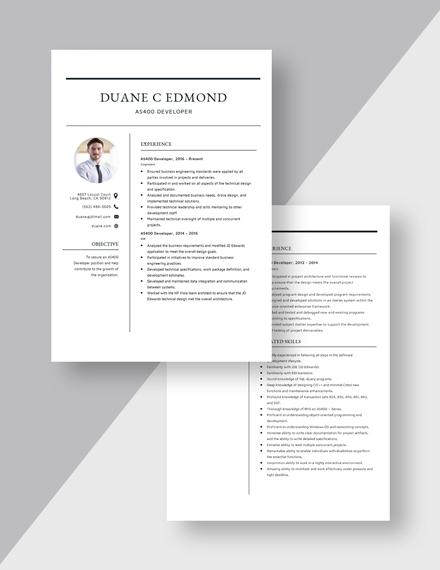 AS Developer Resume Download
