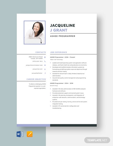 AS400 Programmer Resume Template