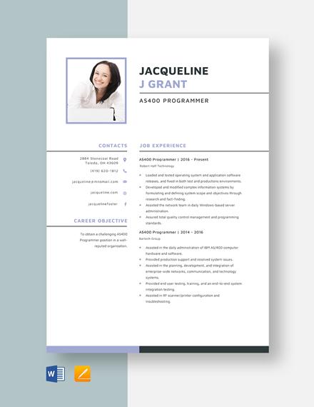 AS400 Programmer Resume Template