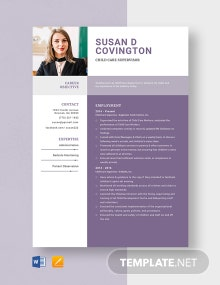Child Care Supervisor Resume Template
