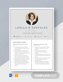 Childcare Group Leader Resume Template