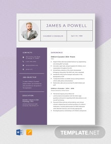 Children's Counselor Resume Template