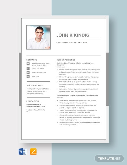 Christian School Teacher Resume Template
