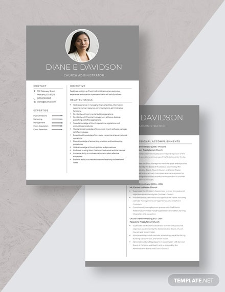 Church Administrator Resume Download