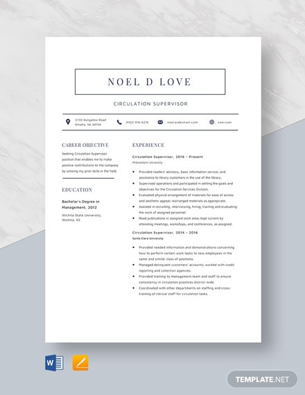 Circulation Supervisor Resume Template
