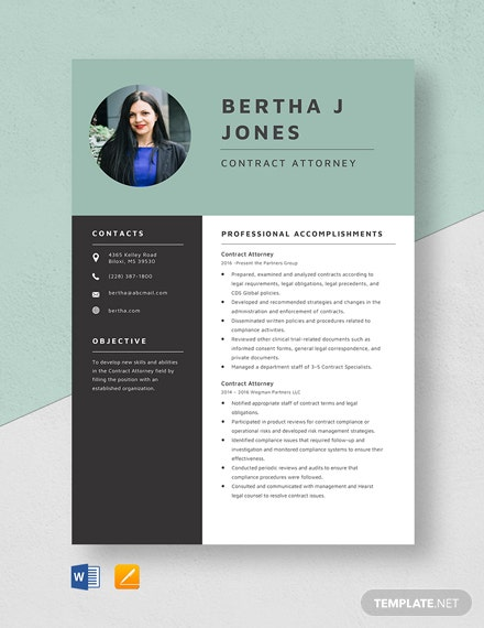 Contract Attorney Resume