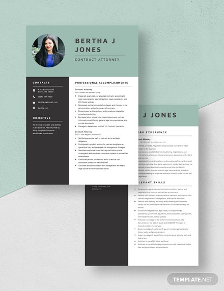 Contract Attorney Resume Download