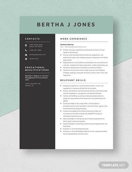 Contract Attorney Resume Template