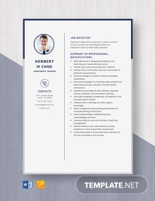 Corporate Trainer Resume Template
