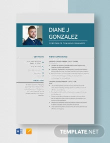 Corporate Training Manager Resume Template