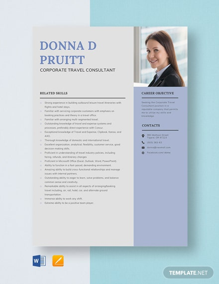 Corporate Travel Consultant Resume Template