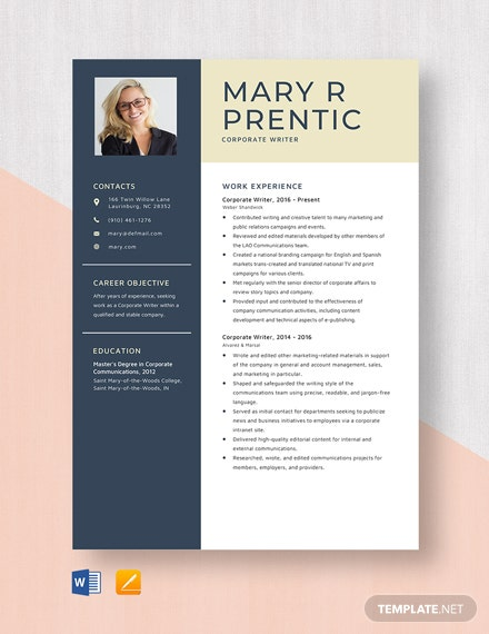 Corporate Writer Resume Template