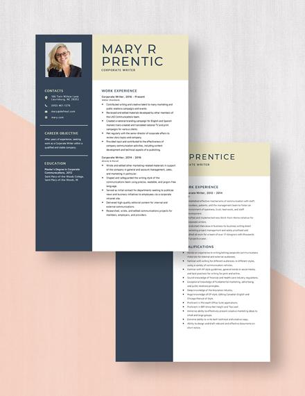 Corporate Writer Resume Download